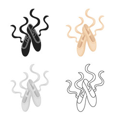 Pointe shoes icon in cartoon style isolated on vector