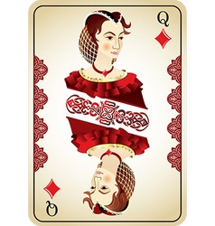 Queen of diamonds from a pack of playing cards vector