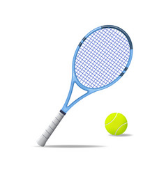 realistic detailed 3d tennis racket and ball vector image vector image