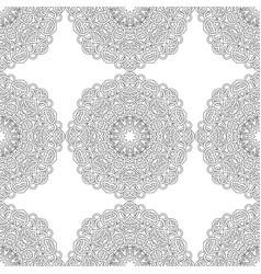 Seamless pattern of black white mandala line art vector
