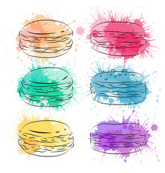set contour drawing macaroon with colorful vector image vector image