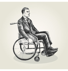 Sketch of a person on wheelchair vector