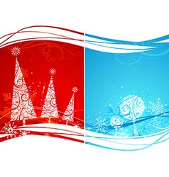 Two winter backgrounds vector image vector image