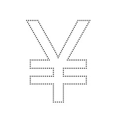 Yen sign black dotted icon on white vector