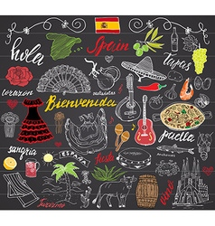 Spain doodles elements hand drawn set with spanish vector