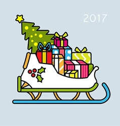 Christmas slay with tree and gifts. vector