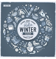 Set of winter cartoon doodle objects symbols and vector