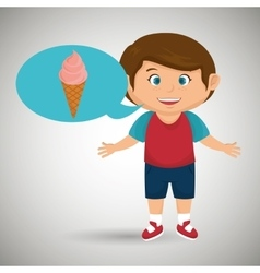 boy cartoon ice cream vector image