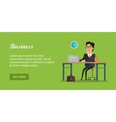 Business banner man sitting on chair at the table vector