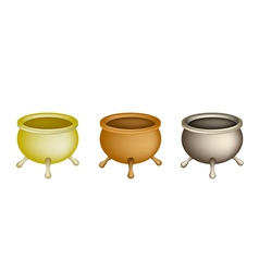Three joss stick pots on white background vector