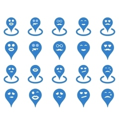 Smiled location icons vector