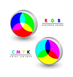 Rgb and cmyk icons vector image