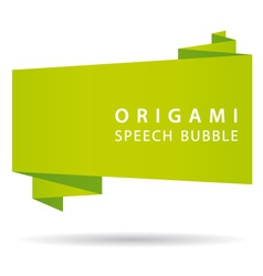 Green origami speech bubble vector