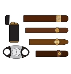 Cigar smoker set vector