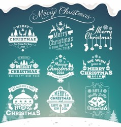 Set of christmas decoration typography tag vector