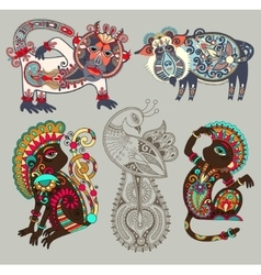 Decorative ethnic folk animals and bird in vector