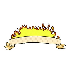 Comic cartoon flaming banner vector