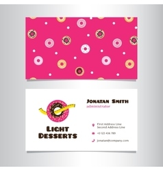 Business card template with funny donut vector