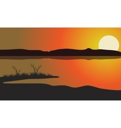 Lake at the sunset scenery vector image