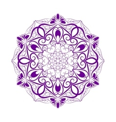Violet Flower Mandala Over White vector image