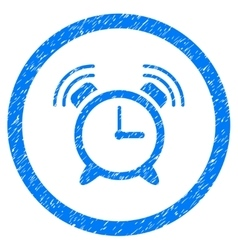 Alarm clock ring rounded icon rubber stamp vector