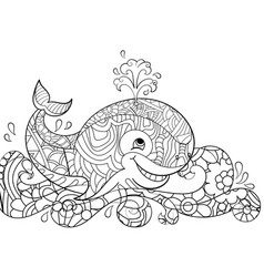 antistress coloring whale on the waves scribbles vector image
