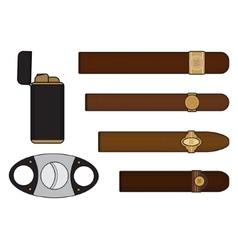 Cigar smoker set vector