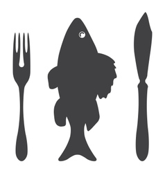 Cutlery knife fork fish - vector image