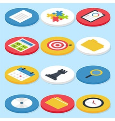 Flat business isometric circle icons set vector