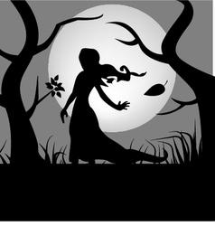 Girl in woods vector