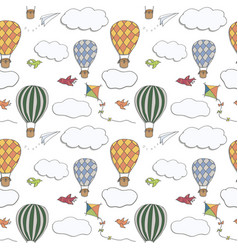 Hand drawn seamless pattern hot air baloons vector