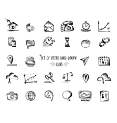 Hand-drawn sketch web icon set - economy finance vector image