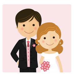 Happy just married on their wedding day and pink vector