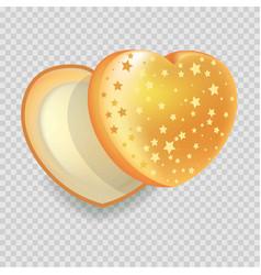 heart-shape open gift box of shiny iridescent vector image vector image
