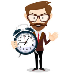 human with alarm clock vector image