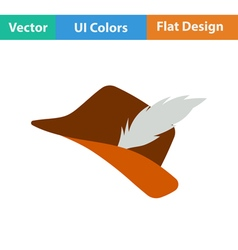 Icon of hunter hat with feather vector image vector image