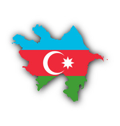 Map and flag of azerbaijan vector