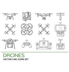 Modern thin line set with drones quadrocopter vector
