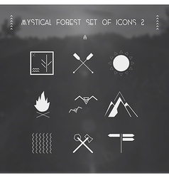 Mystical forest set of icons vector