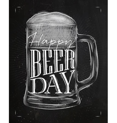 Poster beer day chalk vector image vector image