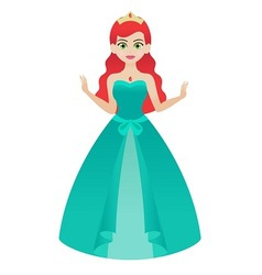 Princess in Green Gown vector image