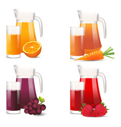 realistic selection of jars and glasses with fruit vector image vector image