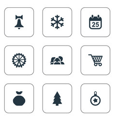 set of simple new year icons vector image vector image