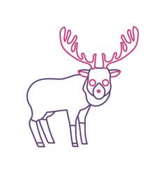 Silhouette cute elk wild animal icon vector