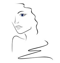 Sketch contour of woman head vector image