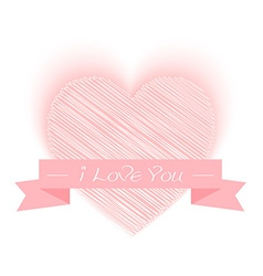 sketch heart shape with I Love You vector image vector image