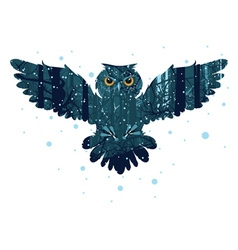 Snowy winter forest and owl vector