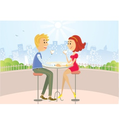 Two lovers in cafe vector image vector image