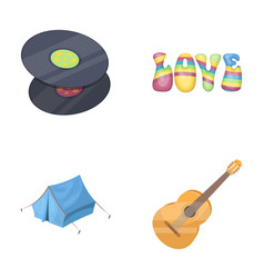 Vinyl discs guitar tenthippy set collection vector