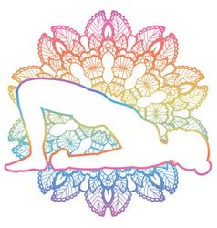 women silhouette bridge yoga pose setu bandha vector image vector image